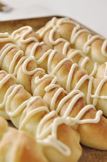 Cinnamon sugar breadsticks with cream cheese drizzle. These are incredible!