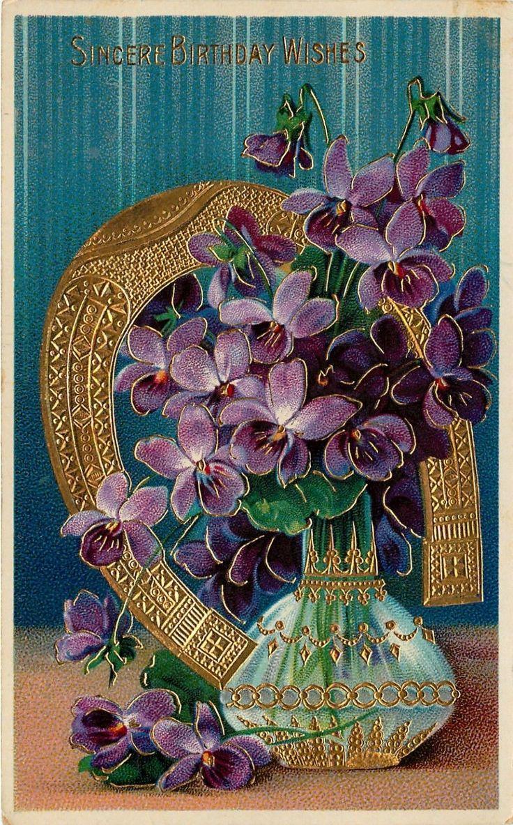 Purple Violets Sincere Birthday Wishes