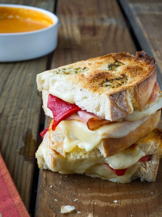 Pesto-Crusted Grilled Cheese, Creamy Roasted Tomato Soup, Parmesan ...