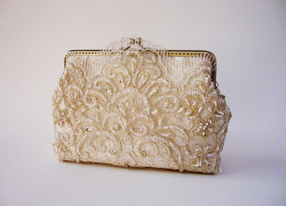 Cream clutch bag wedding