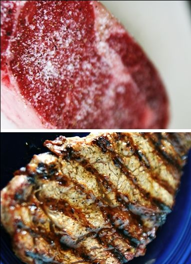 Grilled Peppery Rib-Eye Steaks With Roquefort Butter Recipe ...