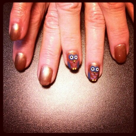 shellac owl nails | Nails by me! #nailsbytracim | Pinterest