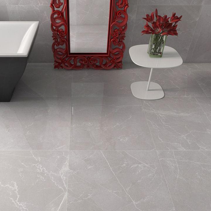 High gloss grey floor tiles