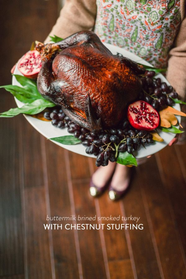 Buttermilk Brined Smoked Turkey with Chestnut Stuffing | Recipe