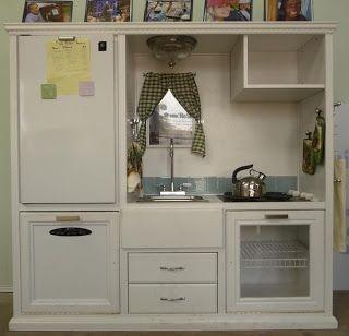 Shabby entertainment unit turned into a shabby kitchen, via Pinterest
