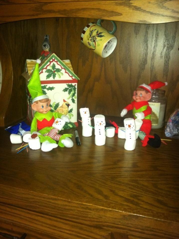 elf on the shelf - making marshmallow snowmen