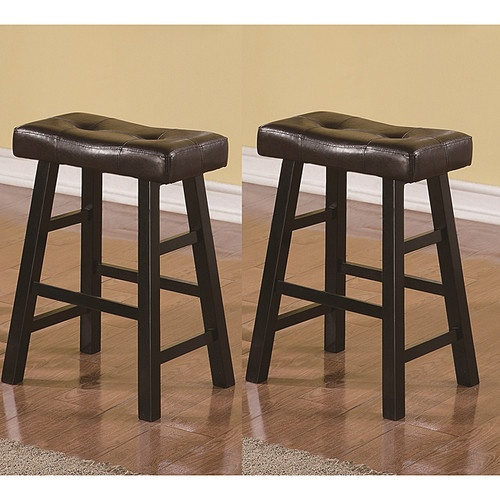 Counter Height Saddle Stools : Saddle Black Brown 24 inch Biecast Leather Counter Height Bar Stools ...