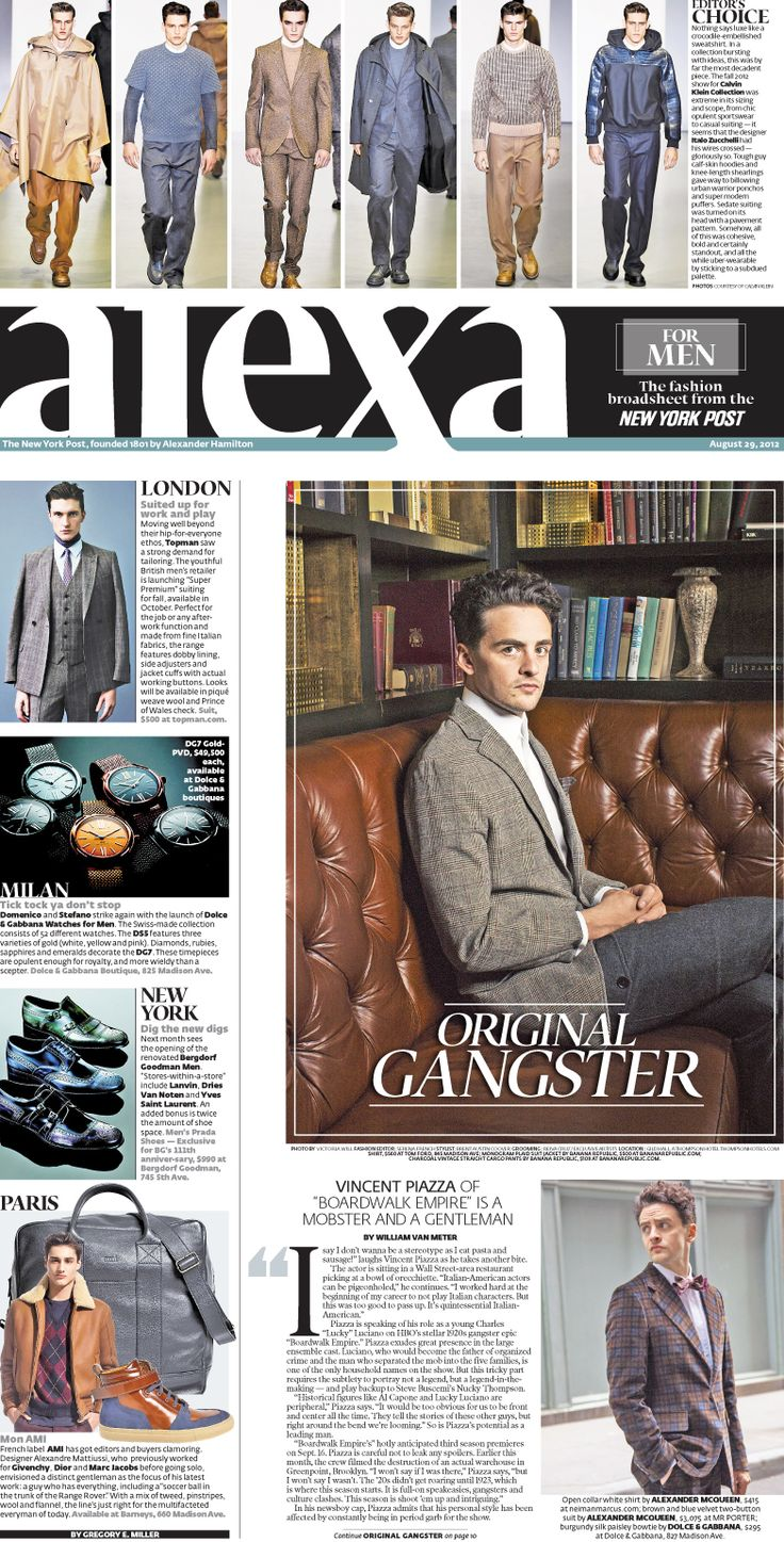 NY Post Alexa First Men's Luxury Fashion Broadsheet