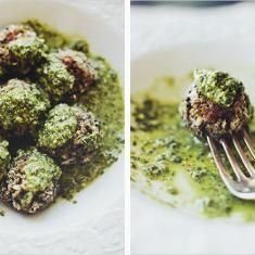 Lentil meatballs in lemon pesto-super different to make but they are a ...