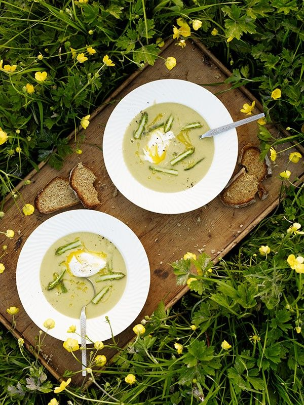 Cream of asparagus soup with soft-poached eggs