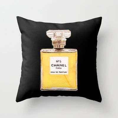 Classic+French+Fragrance+No+5+Black+Throw+Pillow+by+Annechovie+-+$20.00