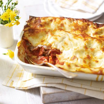 Lasagne with basil & four-cheese sauce   Recipe