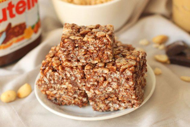 Gluten Free Rice Krispie Treats: Nutella & Peanut Butter
