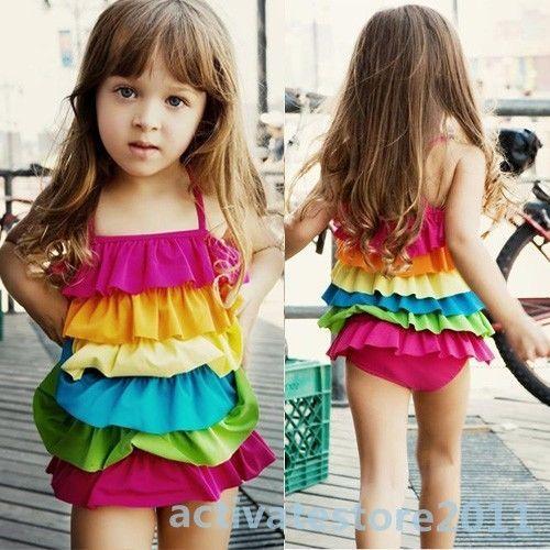 ... Girls One Piece Colorful Ruffled Swimwear Bikini Swimsuit Bathing Suit