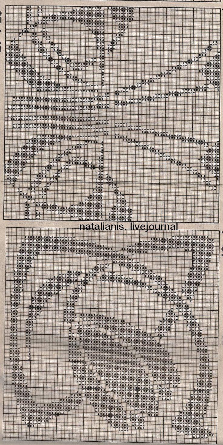 Схемы филейного вязание крючком 65