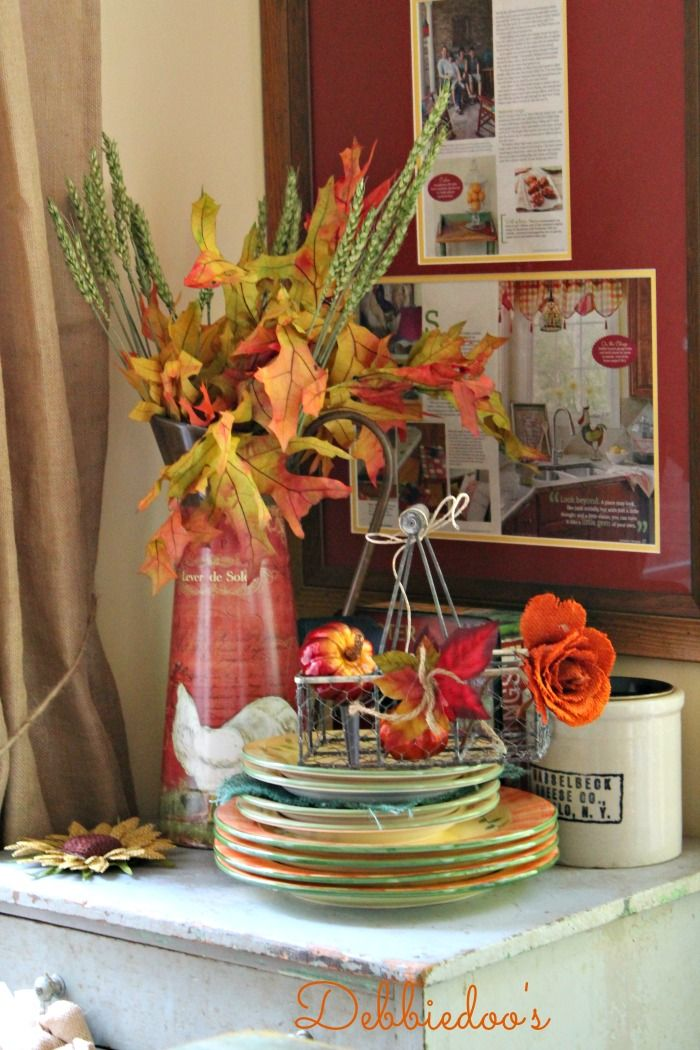 fall budget decorating in the kitchen