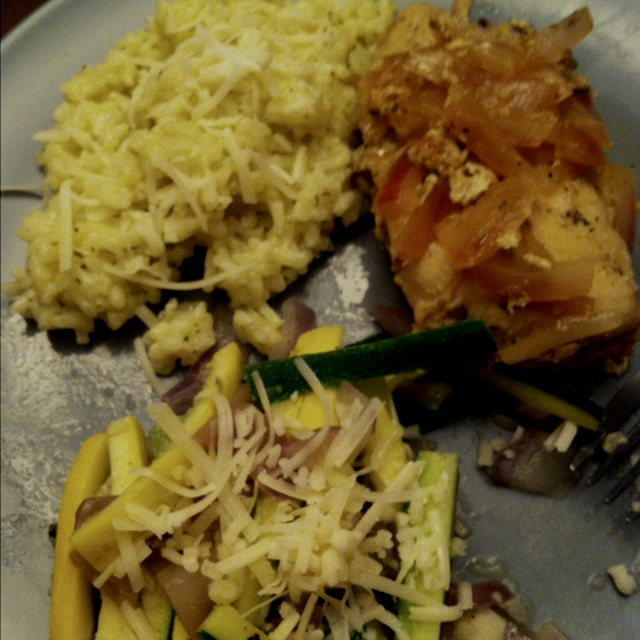 ... herb chicken breast with parmesan risotto and fresh summer squash