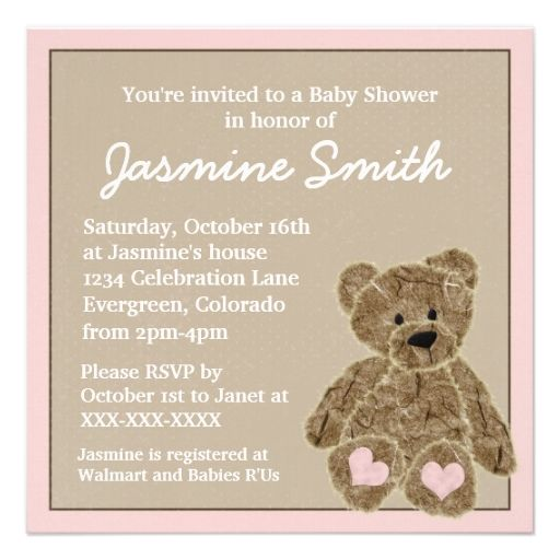 pink brown teddy bear baby shower invitations