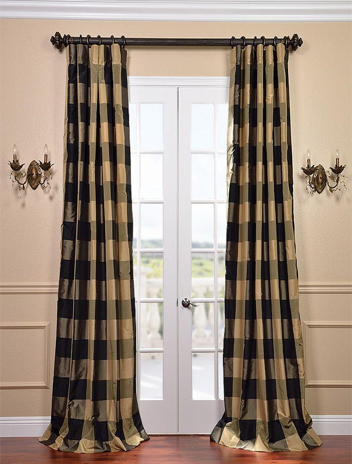 Eastwood Silk Taffeta Plaid Curtain Curtains Rugs