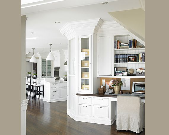 Grey white kitchen and office nook home decor grey for Kitchen office nook