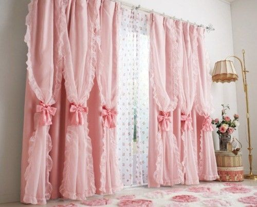 Th most fabulously girly, gorgeous pink panel curtains EVER!!! #curtains #shabby #chic #pink #vintage #girly #living_room #home #decor #bows