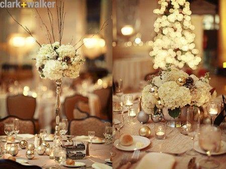 Winter wedding center piece wedding reception decor pinterest