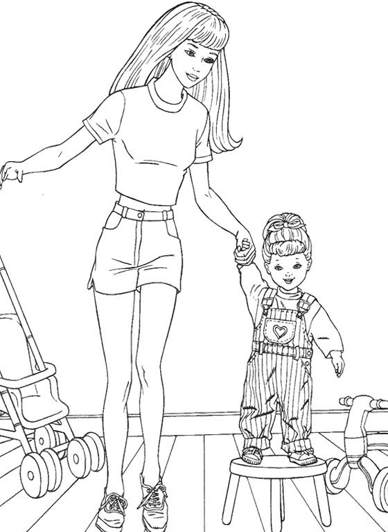 Barbie Doll Baby Coloring Pages