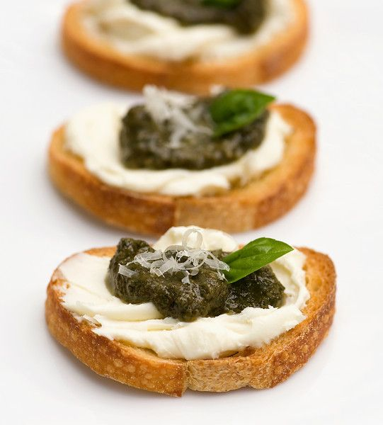 Pesto Cheese Crostini...here's a good use for all that basil I know ...
