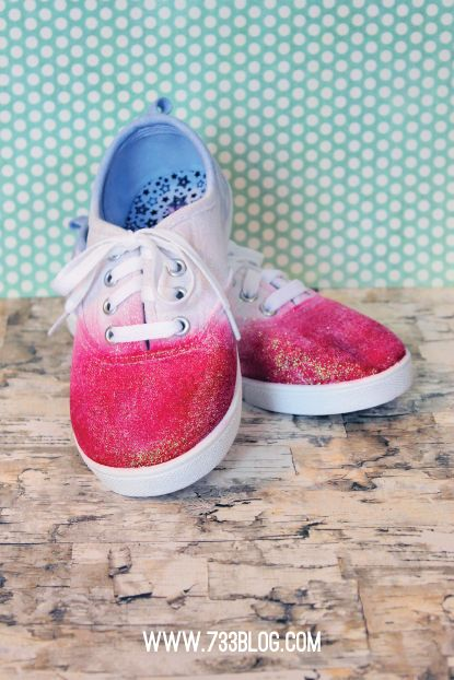 three - - - a creative blog: DIY American Dip Dyed & Sparkle Shoes