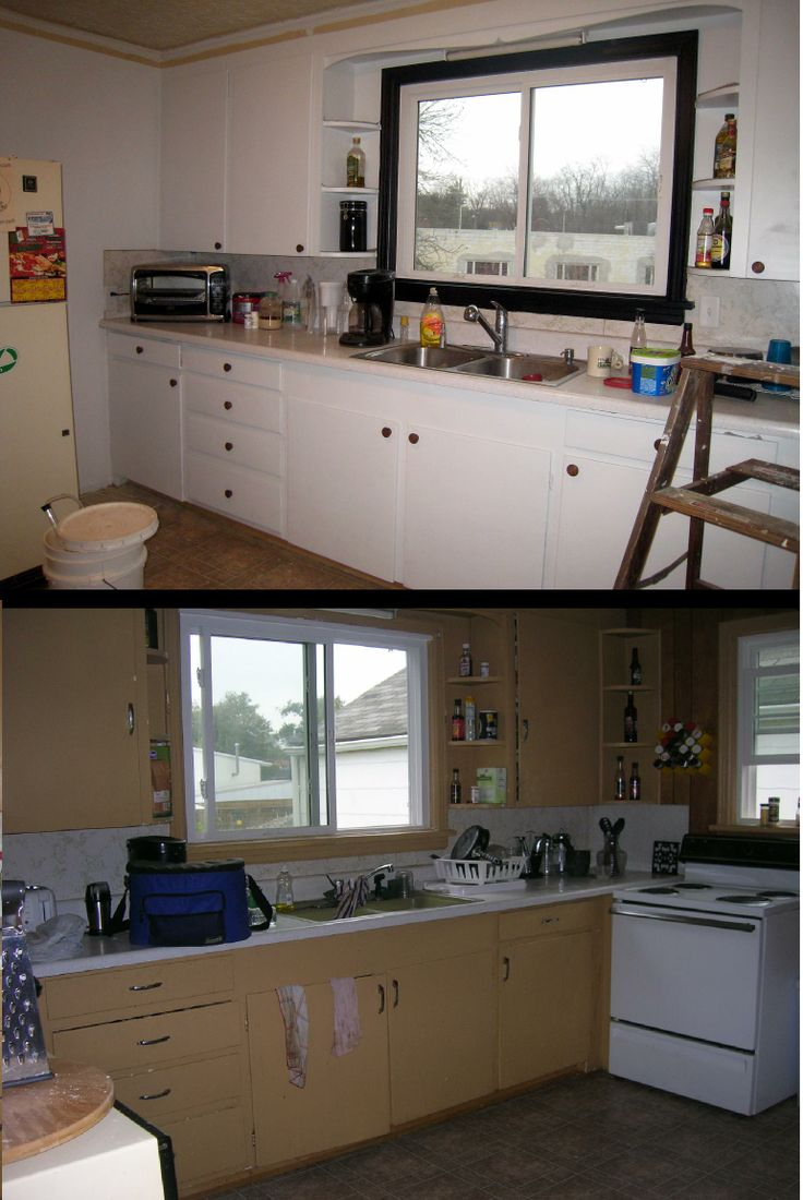 Pin by from attic to crawlspace on before after house for Update my kitchen on a budget