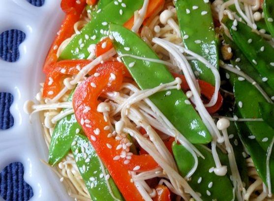 Noodle & Enoki Salad with Ginger Lemon Dressing