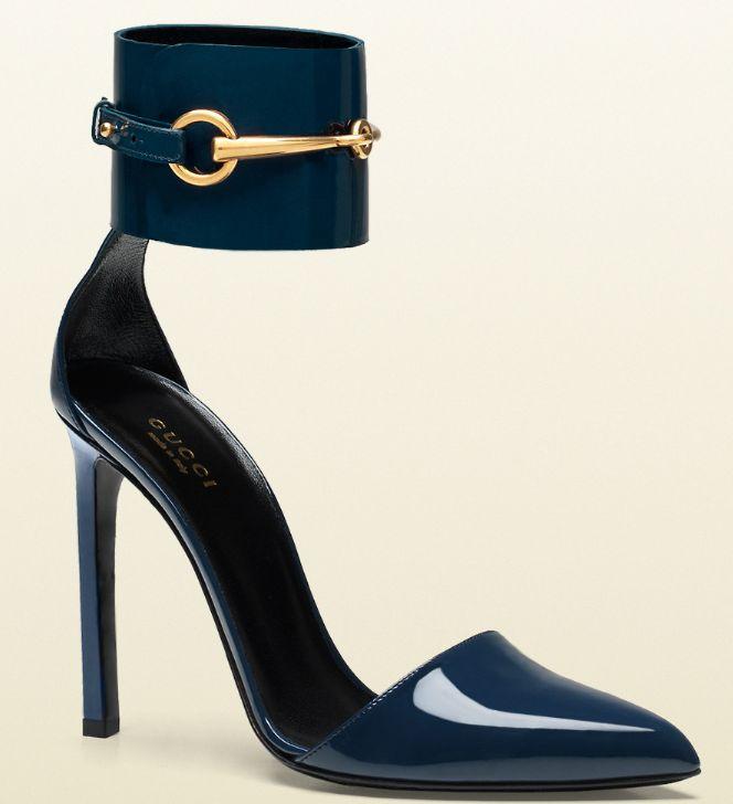 """""""Shoe du Jour"""" 5.28.14 Gucci """"Ursula"""" Patent Leather Horsebit Ankle-Strap Pumps « Shoefessional"""