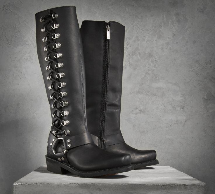 Cool Amazon.com Harley Davidson Womens Top Grain Leather Biker Boots Alanis D84439 Black 11 Shoes