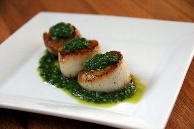 Pan Seared Scallops with Chimichurri Sauce by Aylin @ GlowKitchen