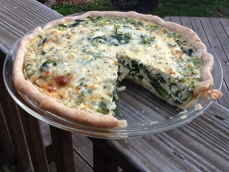 Asparagus, spinach and feta quiche. Made this on 04/18/12 and it ...