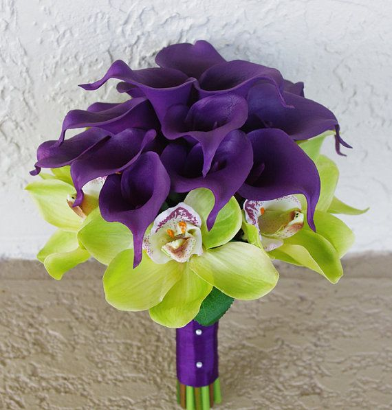 Wedding Purple Calla Lilies and Green Cymbidium Natural Touch Silk Orchids Flower Bride Bouquet on Etsy, $128.00