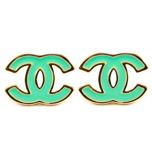 Mint Chanel earrings. CUTE