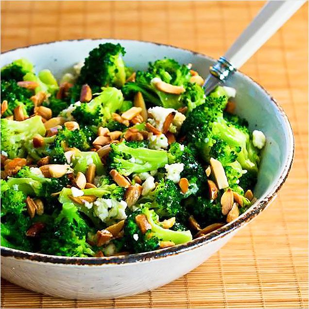 Barely Blanched Broccoli Salad with Feta and Almonds http://www ...