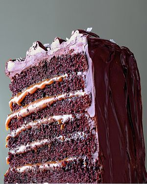 Salted Caramel Six-Layer Chocolate Cake. This actually looks like death.