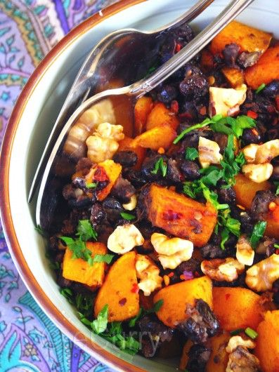 Butternut Squash w Black Beans and Walnuts. Off to stores in Spain to ...