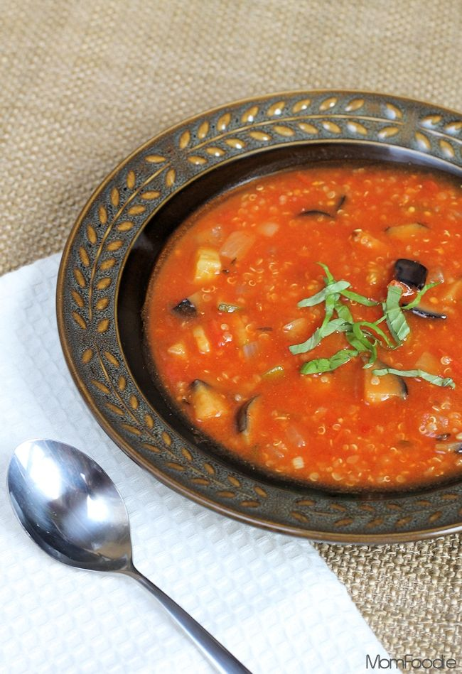 Quick Ratatouille Quinoa Soup with eggplant, zucchini, and basil ...