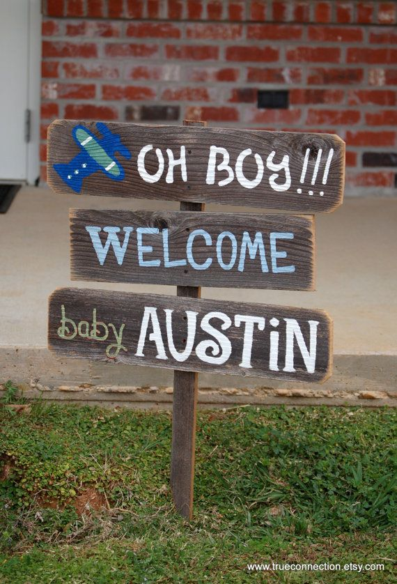 Baby shower sign decorations its a boy sign its a girl for Baby welcome home decoration