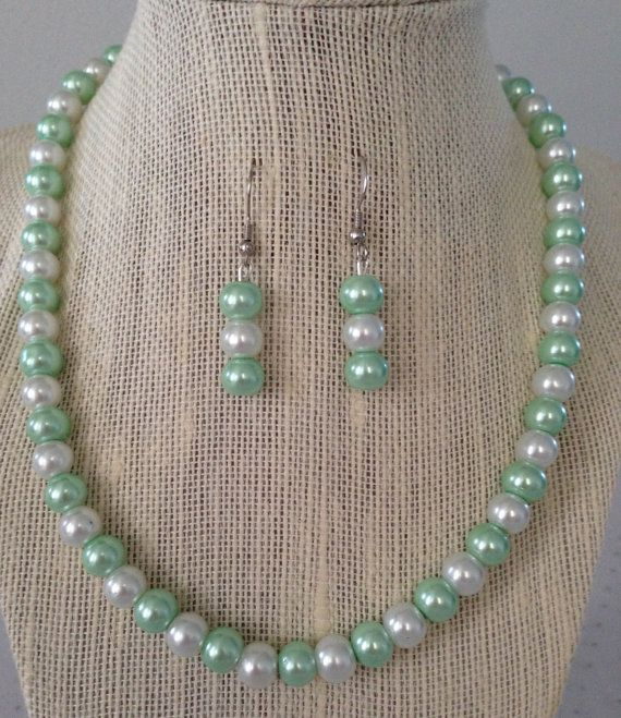 Seafoam Green Pearl Necklace Seafoam Wedding by CherishedJewelryCo, $ ... Necklace