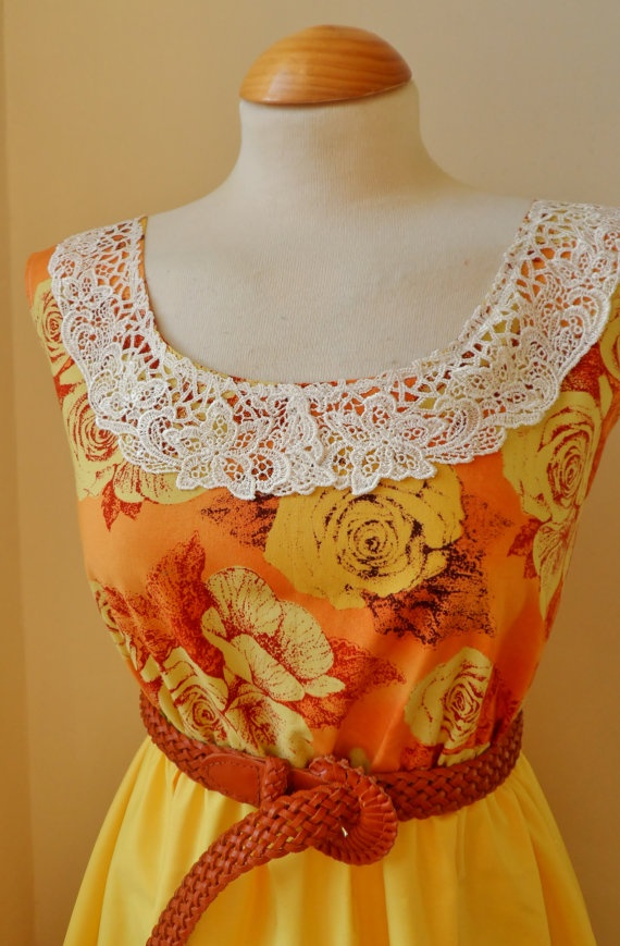 Floral Lace Collar Dress in Burnt Orange Dress Just listed, $38.00
