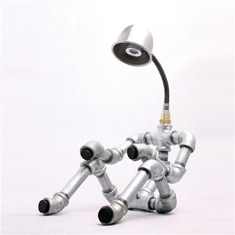 Robot lights made of steel pipe illume pipe light ii - Lamparas de escritorio ...