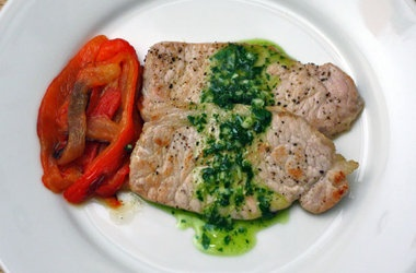 Ferran Adria's Pork Loin with Roasted Peppers and Parsley Oil Recipes ...