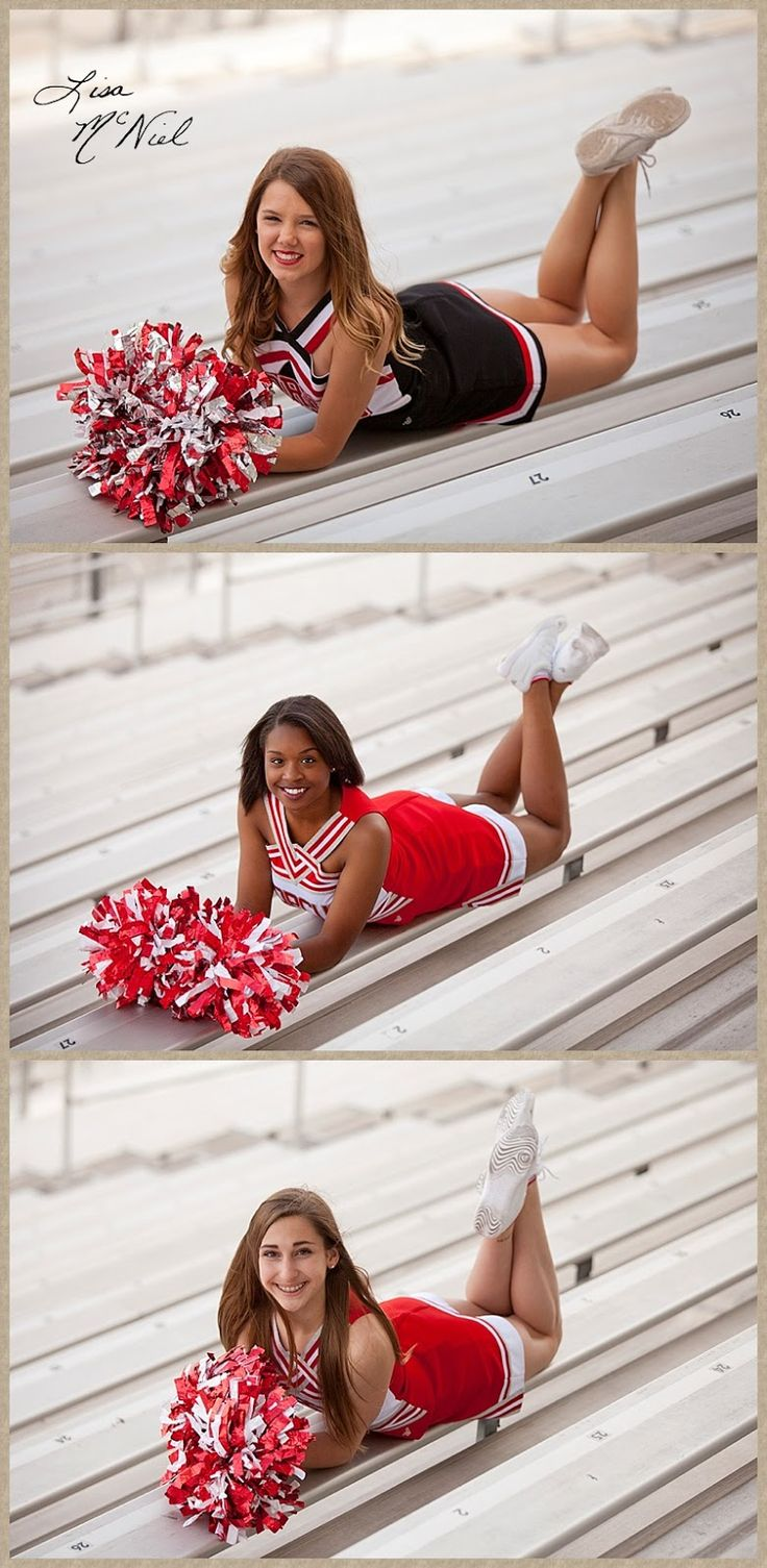 Cheer poses for pictures