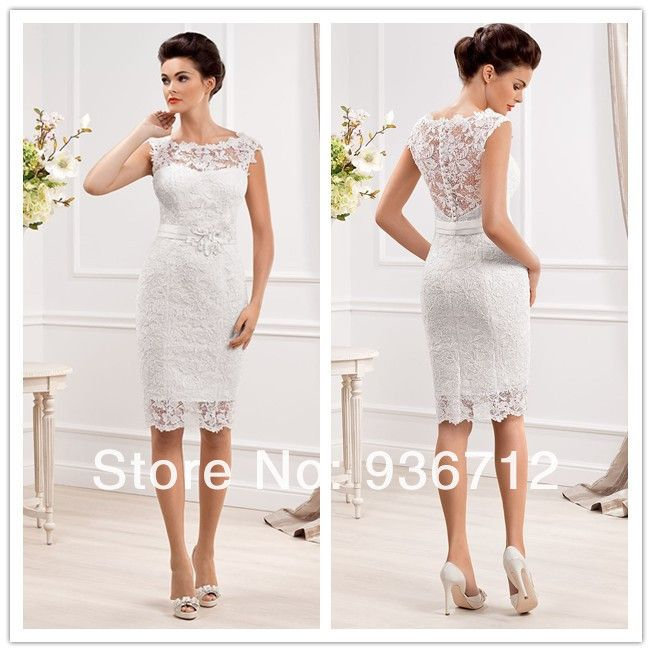 2014 New Designer Elegant Scoop Neckline Sheath Lace Short Wedding Dresses SF01433 $95.00