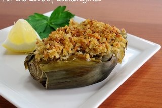 baby artichokes stuffed with panko, parmesan, and garlic recipe from ...