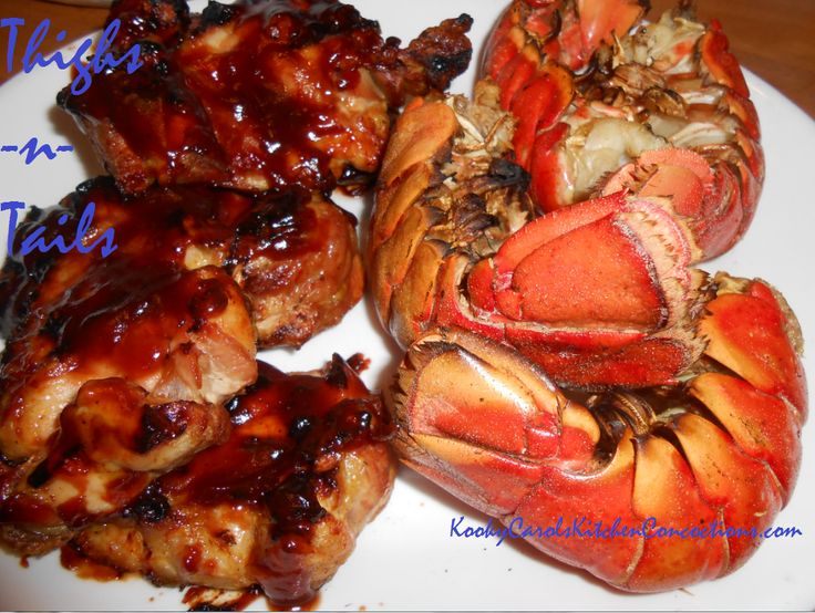 BBQ Thighs and Lobster tails with grilled summer squash and Old Bay ...